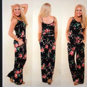 Pants - Black floral print Jumpsuit